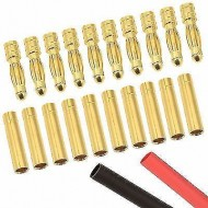 2mm Bullet Connectors with Heat Shrink (10 Pack)